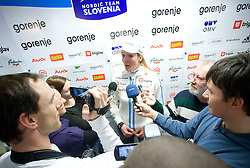 Petra Majdic with journalists at press conference of Slovenian Nordic team  before departure to Nordic Ski World Championships Liberec 2009, on February 16, 2009, in Ljubljana, Slovenia. (Photo by Vid Ponikvar / Sportida)