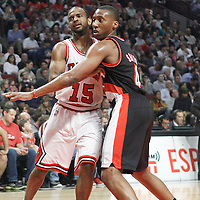 16 March 2012: Portland Trail Blazers guard Nolan Smith (4) defends on Chicago Bulls point guard John Lucas III (15) during the Portland Trail Blazers 100-89 victory over the Chicago Bulls at the United Center, Chicago, Illinois, USA.