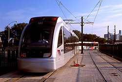Metro light rail in downtown Houston