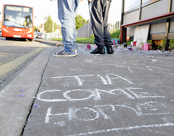 © Licensed to London News Pictures. 08/08/2012 .Messages written on the pavement at the bus stop near to The Lindens..12 years old Tia Sharp has been missing from the Lindens on The Fieldway Estate in New Addington,Croydon,Surrey since Friday last week. .Photo credit : Grant Falvey/LNP