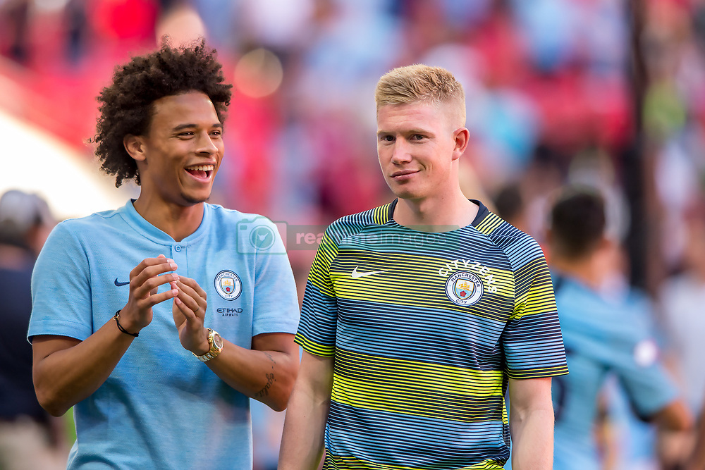 August 5, 2018 - Leroy Sané of Manchester City and Kevin De Bruyne of Manchester City celebrates the victory during the 2018 FA Community Shield match between Chelsea and Manchester City at Wembley Stadium, London, England on 5 August 2018. (Credit Image: © AFP7 via ZUMA Wire)