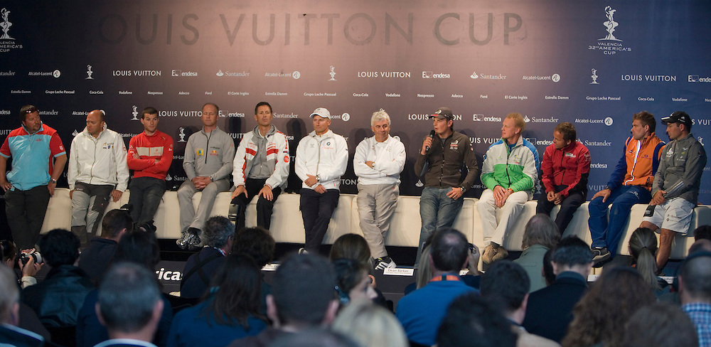 America's Cup 2007 Louis Vuitton Act 13, 2/4/07. The 12 skippers of Act 13, come together to answer questions from the media, at the Skippers' Press Conference, on the eve of the Louis Vuitton Act 13