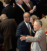 Fulton County Commissioner Robb Pitts, right, and Georgia Rep. Calvin Smyre, D-Columbus arrive for Georgia Gov. Carl Sanders' memorial service at Second Ponce de Leon Baptist Church on Saturday, Nov. 22, 2014, in Atlanta. Six living Georgia governors attended the service including current Gov. Nathan Deal and former governors Sonny Perdue, Roy Barnes, Zell Miller, Joe Frank Harris and Jimmy Carter, as well as business, education and other political leaders. Photo by David Tulis