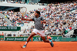 May 29, 2019: Paris, France: JO-WILFRIED TSONGA of France plays against seventh seeded Kei Nishikori of Japan during their second round match of the French Tennis Open at Roland Garros. Nishikori won 4-6, 6-4, 6-4, 6-4. (Credit Image: © Judith White/ZUMA Wire)