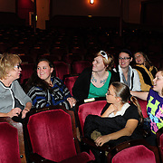 Women Fully Clothed comedian Jane Eastwood (L) speaks with members of Arts In Reach during a Q/A session at The Music Hall in Portsmouth, NH