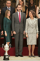 King Felipe VI of Spain, Queen Letizia of Spain and Queen Sofia of Spain of Spain pose with the awarded at the 2013 Sports National Awards ceremony at El Pardo palace in Madrid, Spain. December 03, 2014. (ALTERPHOTOS/Victor Blanco)