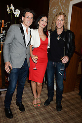Left to right, STEPHEN WEBSTER, YASMIN MILLS and DAVID BRYAN at the Blue Monday Cheese Launch presented by Alex James and held at The Cadogan Hotel, Sloane street, London on 11th June 2013.