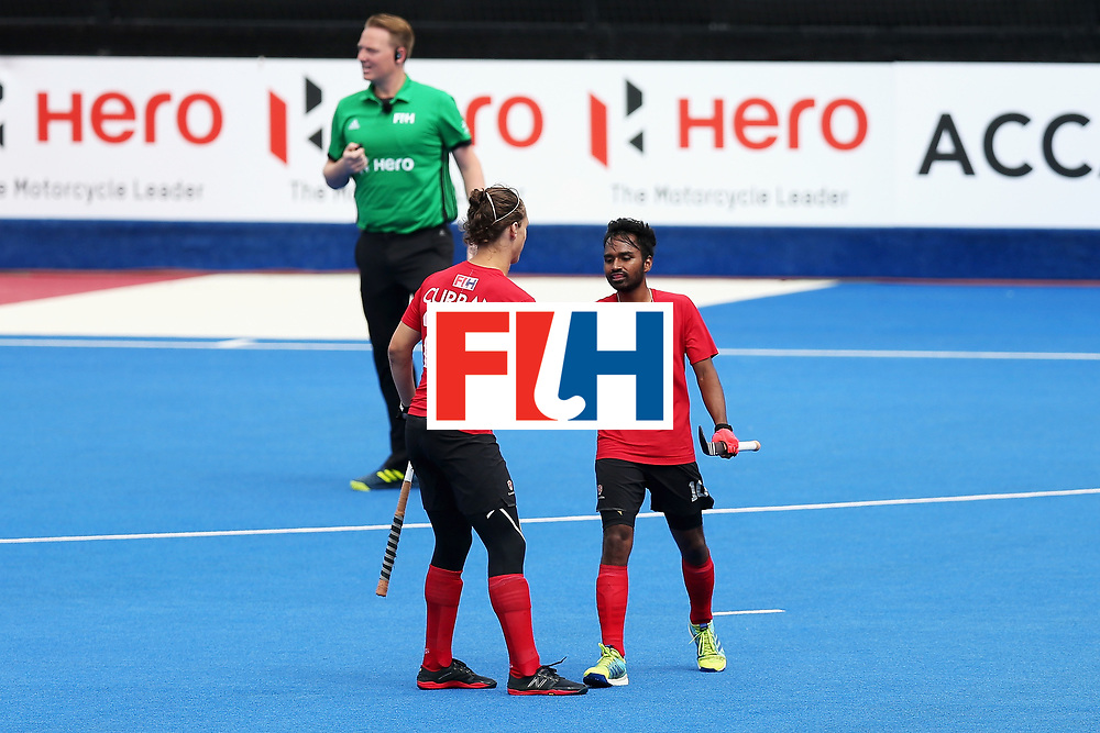 LONDON, ENGLAND - JUNE 24:  Keegan Pereira of Canada celebrates scoring his sides fifth goal with Taylor Curran of Canada during the 5th-8th place match between Canada and China on day eight of the Hero Hockey World League Semi-Final at Lee Valley Hockey and Tennis Centre on June 24, 2017 in London, England.  (Photo by Alex Morton/Getty Images)