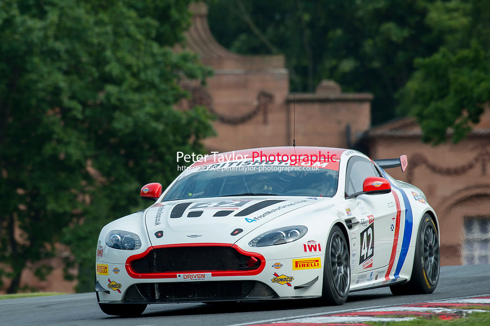 Jack Mitchell (GBR) / Matthew Graham (GBR)  #42 Generation AMR Macmillan Racing  Aston Martin V8 Vantage GT4  Aston Martin 4.7L V8 British GT Championship at Oulton Park, Little Budworth, Cheshire, United Kingdom. May 28 2016. World Copyright Peter Taylor/PSP.