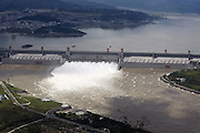 YICHANG, CHINA - SEPTEMBER 19: (CHINA OUT) <br /> <br /> Flood Peak Passes Three Gorges Dam<br /> <br /> Flood water is released from spillways of the Three Gorges Dam on September 19, 2014 in Yichang, Hubei Province of China. The second flood peak, caused by heavy downpours in the upper reaches of the Yangtze River, this year will pass the Three Gorges Dam on Sunday.<br /> ©Exclusivepix