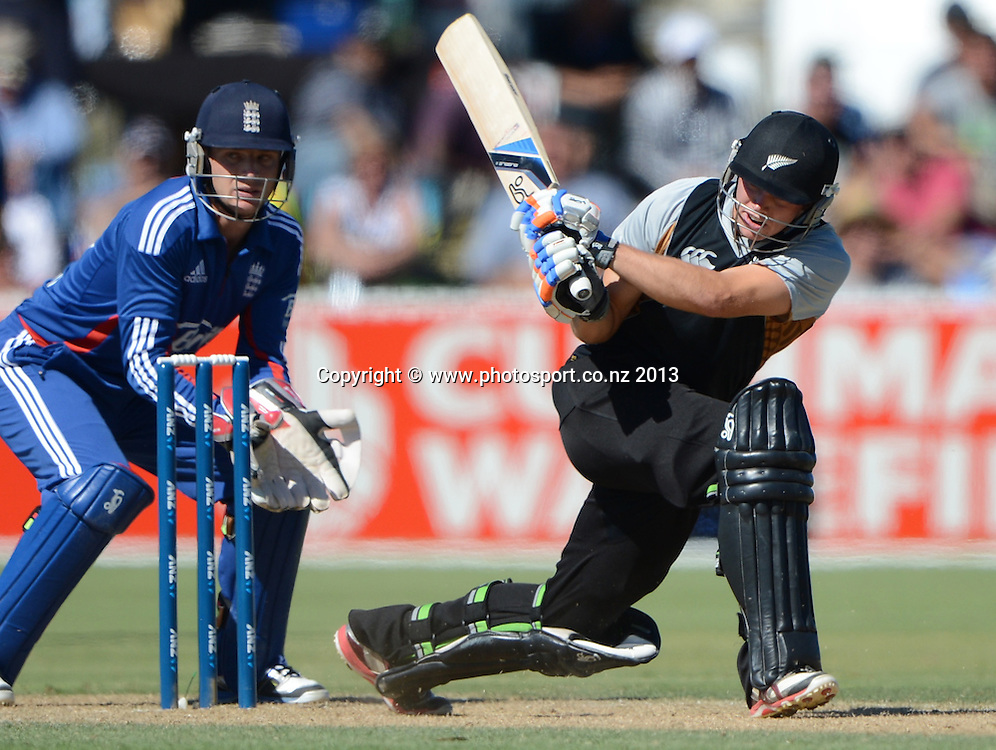 New Zealand batsman Tom Latham in action. Twenty20 Cricket. England v NZ XI. England Cricket tour to New Zealand. Cobham Oval. Whangarei, New Zealand on Wednesday 6 February 2013. Photo: Andrew Cornaga/Photosport.co.nz