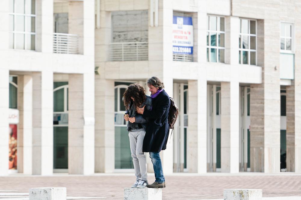 23 FEB 2012 - Castelfranco Veneto (TV) - Franco Antonello, imprenditore ed editore, con il figlio diciottenne Andrea, autistico