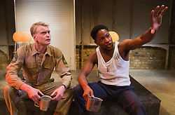 "© Licensed to London News Pictures. 01/11/2012. London, England. L-R: Paul McEwan and Adetomiwa Edun. World Premiere of ""but i cd only whisper"", a play by Kristina Colón, directed by Nadia Latif, running at the Arcola Studio 2 from 31 October to 1 December 2012. Photo credit: Bettina Strenske/LNP"