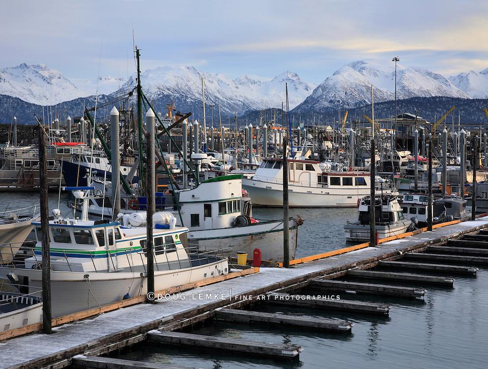 Mountains And Boats In Harbor At Homer Alaska, Kenai Peninsula