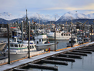Mountains And Boats In Harbor At Homer Alaska, Kenai Peninsula