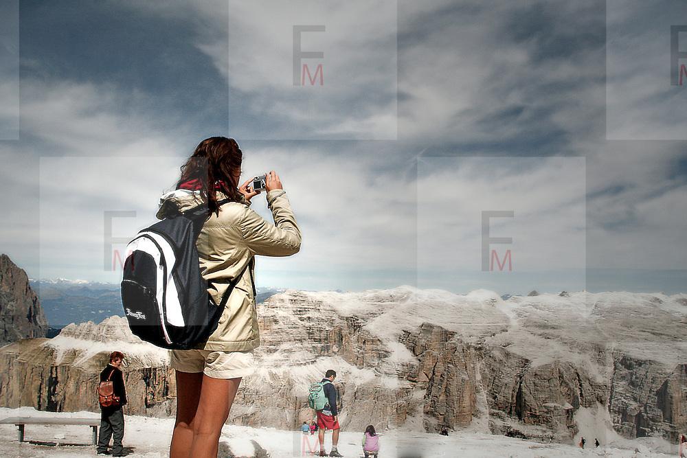 Tourist over Pordoi