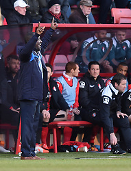 Huddersfield Town Manager, Chris Powell signals to his players from the side line at Goldsands Stadium - Photo mandatory by-line: Paul Knight/JMP - Mobile: 07966 386802 - 14/02/2015 - SPORT - Football - Bournemouth - Goldsands Stadium - AFC Bournemouth v Huddersfield Town - Sky Bet Championship