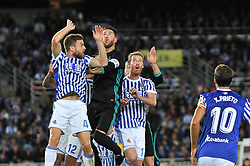 September 17, 2017 - San Sebastian, Gipuzkoa - Basque Country, Spain - Sergio Ramos of Real Madrid duels for the ball with Illarramendi and Zurutuza of Real Sociedad during the Spanish league football match between Real Sociedad and Real Madrid at the Anoeta Stadium on 17 September 2017 in San Sebastian, Spain  (Credit Image: © Jose Ignacio Unanue/NurPhoto via ZUMA Press)