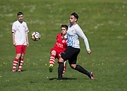 12/05/2018 - Charlie Accies (red) v FC Boukir (blue and white) in the Dundee Saturday Morning Football League at Drumgeith, Dundee, Picture by David Young -