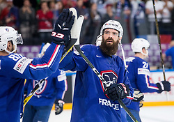 Antonin Manavian of France celebrates after winning during the 2017 IIHF Men's World Championship group B Ice hockey match between National Teams of Finland and France, on May 7, 2017 in Accorhotels Arena in Paris, France. Photo by Vid Ponikvar / Sportida