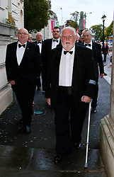 CARDIFF, WALES - Monday, October 5, 2015: Wales' Council Members Peter Rees and Idwal Williams arrive for the FAW Awards Dinner Dinner at Cardiff City Hall. (Pic by David Rawcliffe/Propaganda)