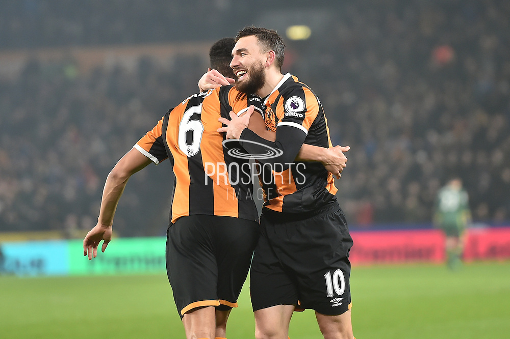 Hull City midfielder Robert Snodgrass (10) and Hull City defender Curtis Davies (6) celebrates goal scored by Hull City defender Michael Dawson (21) to go 1-0 up during the Premier League match between Hull City and Everton at the KCOM Stadium, Kingston upon Hull, England on 30 December 2016. Photo by Ian Lyall.