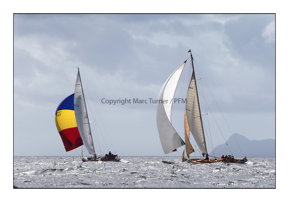 Day five of the Fife Regatta, Race from Portavadie on Loch Fyne to Largs. <br /> <br /> Sonata, Patrick  Caiger-Smith, GBR, Bermudan Sloop, Wm Fife 3rd, 1950, Solway Maid, Roger Sandiford, GBR, Bermudan Cutter, Wm Fife 3rd, 1940<br /> * The William Fife designed Yachts return to the birthplace of these historic yachts, the Scotland&rsquo;s pre-eminent yacht designer and builder for the 4th Fife Regatta on the Clyde 28th June&ndash;5th July 2013<br /> <br /> More information is available on the website: www.fiferegatta.com