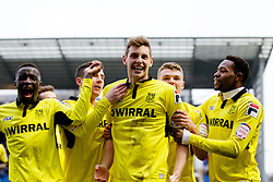 COLCHESTER, ENGLAND - Saturday, February 23, 2013: Tranmere Rovers' Ash Taylor celebrates scoring the third goal against Colchester United with team-mates Zoumana Bakayogo, Jean-Louis Akpa Akpro, Max Power and Michael O'Halloran during the Football League One match at the Colchester Community Stadium. (Pic by Vegard Grott/Propaganda)