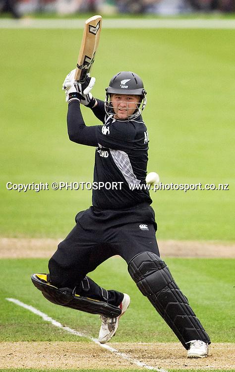 New Zealand batsman Corey Anderson during his innings. New Zealand v Australia, U19 Cricket World Cup Quarter Final, Mainpower Oval, Rangiora, Sunday 24 January 2010. Photo : Joseph Johnson/PHOTOSPORT