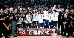 Players of USA celebrate after winning the finals basketball match between National teams of Turkey and USA at 2010 FIBA World Championships on September 12, 2010 at the Sinan Erdem Dome in Istanbul, Turkey.  USA defeated Turkey 81 - 64 and became World Champion 2010. (Photo By Vid Ponikvar / Sportida.com)