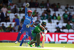 Pakistan's Fakhar Zaman is trapped lbw during the ICC Cricket World Cup group stage match at Headingley, Leeds.