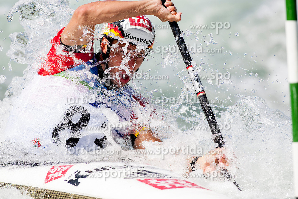 17.08.2013, Tacen, Ljubljana, SLO, ICF Kanuslalom Weltcup, im Bild Fabian Doerfler of Germany // during Kayak(K1) Man qualifications race during the ICF Canoe Slalom World Cup at Tacen, Ljubljana, Slovenia on 2013/08/17. EXPA Pictures &copy; 2013, PhotoCredit: EXPA/ Sportida/ Urban Urbanc<br /> <br /> ***** ATTENTION - OUT OF SLO *****