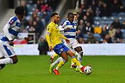Lewis Baker (34) of Leeds United on the attack during the The FA Cup 3rd round match between Queens Park Rangers and Leeds United at the Loftus Road Stadium, London, England on 6 January 2019.
