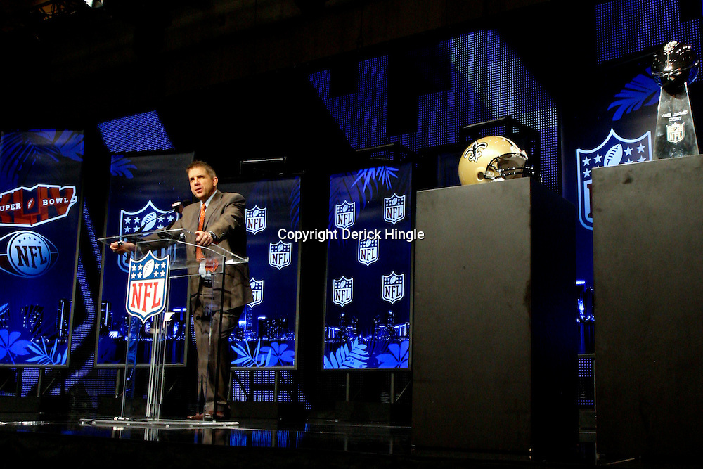 Feb 05, 2010;  Fort Lauderdale, FL, USA; New Orleans Saints head coach Sean Payton talks during a press conference at the Super Bowl XLIV media center at the Fort Lauderdale/Broward County Convention Center. Mandatory Credit: Derick E. Hingle