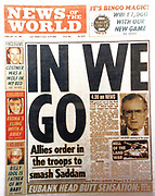 The 'News of the World' Newspaper 10th July 2011. The commemorative final edition of the newspaper carries a re-print of the Issue, marking the beginning of the first Gulf War in Iraq, 1991