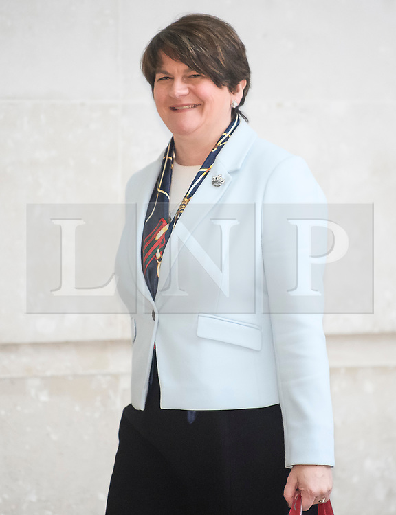 © Licensed to London News Pictures. 25/11/2018. London, UK. Leader of the DUP (Democratic Unionist Party) ARLENE FOSTER  arrives at BBC Broadcasting House to appear on The Andrew Marr Show. Photo credit: Ben Cawthra/LNP