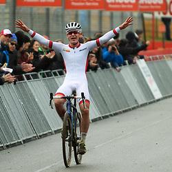 26-12-2019: Wielrennen: Wereldbeker veldrijden: Zolder<br /> Swisse rider Kevin Kuhn wins worldcup race U23 at cirucuit Terlamen. 2nd Antoine Benoist and 3th Loris Roullir