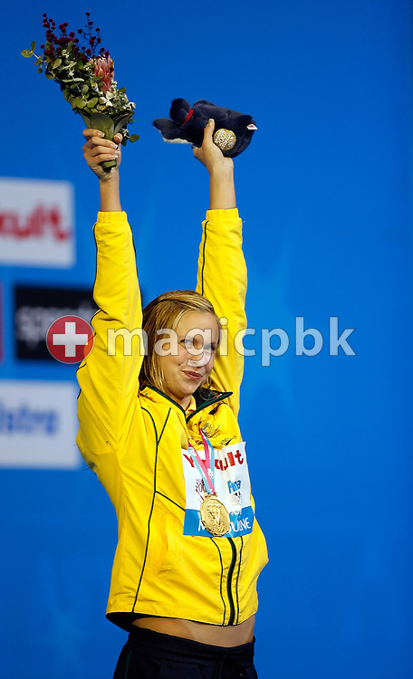 Winner Lisbeth (Libby) LENTON of Australia is pictured during the award ceremony of the women's 50m freestyle final in the Susie O'Neill pool at the FINA Swimming World Championships in Melbourne, Australia, Sunday 1 April 2007. (Photo by Patrick B. Kraemer / MAGICPBK)