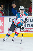 KELOWNA, CANADA - JANUARY 11:  Jesse Lees #2 of the Kelowna Rockets skates with the puck against the Tri City Americans at the Kelowna Rockets on January 11, 2013 at Prospera Place in Kelowna, British Columbia, Canada (Photo by Marissa Baecker/Shoot the Breeze) *** Local Caption ***
