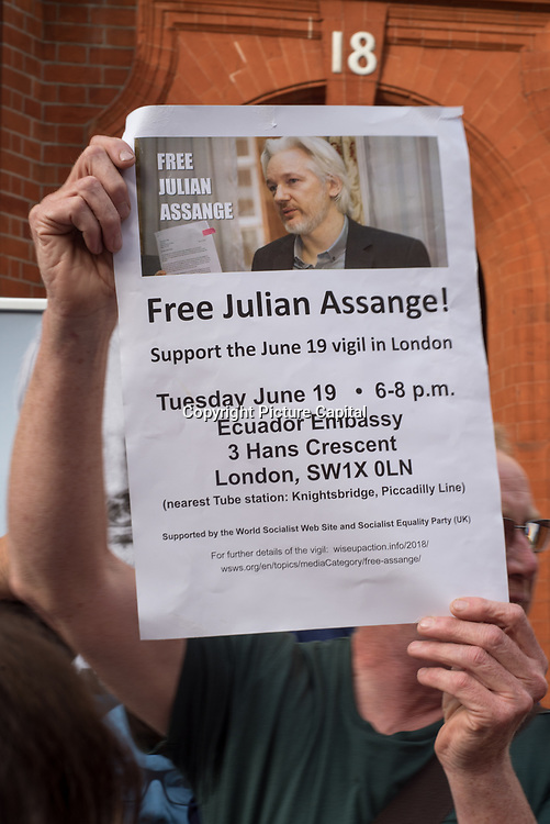 On to 6 years where Assagnes seek aslum in the Embassy of Ecuador. Activists continues demonstration to free Assange in London, UK on June 19 2018.