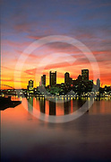 Pittsburgh, PA, Skyline, Ohio River, Sunrise, from West End