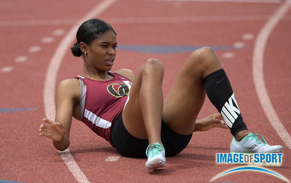 Janiah Brown of Oaks Christian reacts after placing fifth in the girls 800m in 2:12.01 during the 2019 CIF Southern Section Masters Meet in Torrance, Calif., Saturday, May 18, 2019.