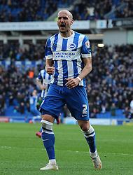 Brighton and Hove Albion's Bruno Saltor celebrates his sides goal . - Photo mandatory by-line: Harry Trump/JMP - Mobile: 07966 386802 - 14/03/15 - SPORT - Football - Sky Bet Championship - Brighton v Wolves - Amex Stadium, Brighton, England.