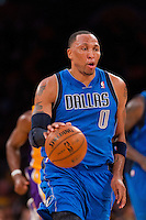 30 October 2012: Forward (0) Shawn Marion of the Dallas Mavericks dribbles the ball up the court against the Los Angeles Lakers during the first half of the Mavericks 99-91 victory over the Lakers at the STAPLES Center in Los Angeles, CA.