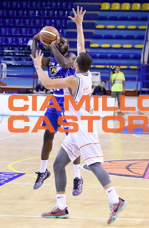 DESCRIZIONE : Porto San Giorgio PreCampionato Lega A 2015-16 Vanoli Cremona Banvit Basketbol GIOCATORE : Stephen Adegboye<br /> CATEGORIA : Tiro Three Points Mani<br /> SQUADRA : Vanoli Cremona<br /> EVENTO :  PreCampionato Lega A 2015-16<br /> GARA : Vanoli Cremona Banvit Basketbol <br /> DATA : 04/09/2015<br /> SPORT : Pallacanestro <br /> AUTORE : Agenzia Ciamillo-Castoria/A.Giberti<br /> Galleria :  Campionato Lega A 2015-16  <br /> Fotonotizia :  Vanoli Cremona Banvit Basketbol <br /> Predefinita :