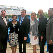 June 9, 2015, New Haven, CT:<br /> (From left to right) New Haven Mayor Toni Harp, Connecticut Governor Dannel P. Malloy, Tournament Director Anne Worcester, and Former ATP World Tour star and Connecticut Open Legends Event Participant James Blake pose for a photograph with guests during a press conference at the Connecticut Tennis Center to announce the new Connecticut Open 50/50 Project and the renewal of United Technologies sponsorship of the tournament through the 2017 in New Haven, Connecticut Tuesday, June 9, 2015.<br /> (Photos by Billie Weiss/Connecticut Open)
