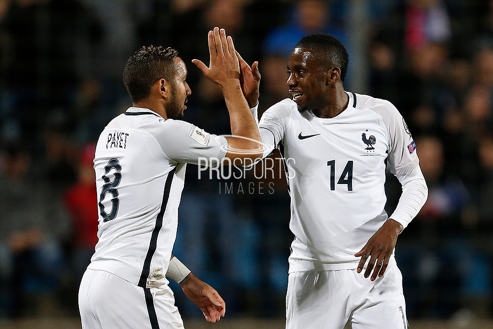France's forward Dimitri Payet and France's midfielder Blaise Matuidi celebrate during the FIFA World Cup 2018 qualifying football match, Group A, between Luxembourg and France on March 25, 2017 at Josy Barthel stadium in Luxembourg - Photo Benjamin Cremel / ProSportsImages / DPPI