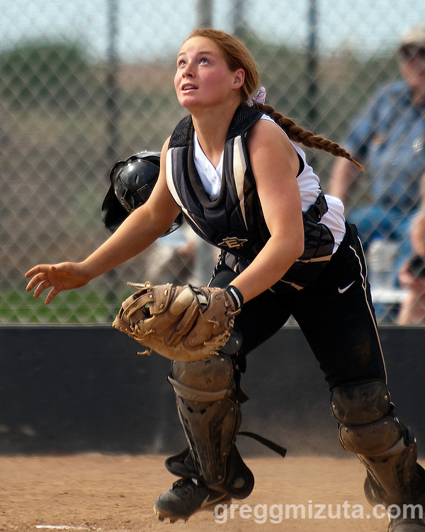 Vale junior Alexis Mulvany chases a pop up during the Vale-Nyssa doubleheader at Vale High School, Vale, Oregon, May 8, 2015.