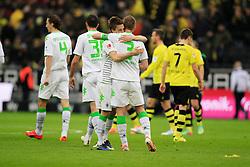 15.03.2014, Signal Iduna Park, Dortmund, GER, 1. FBL, Borussia Dortmund vs Borussia Moenchengladbach, 25. Runde, im Bild Patrick Herrmann (Borussia Moenchengladbach #7), Kapitaen Filip Daems (Borussia Moenchengladbach #3) feiern den Sieg gegen den BVB, Emotion, Freude, Glueck, Positiv // during the German Bundesliga 25th round match between Borussia Dortmund and Borussia Moenchengladbach at the Signal Iduna Park in Dortmund, Germany on 2014/03/15. EXPA Pictures © 2014, PhotoCredit: EXPA/ Eibner-Pressefoto/ Schueler<br /> <br /> *****ATTENTION - OUT of GER*****