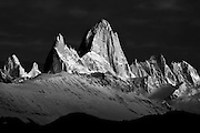 Sunrise at Mt. Fitzroy in the Southern Andes, Patagonia, Argentina, South America, Black and White